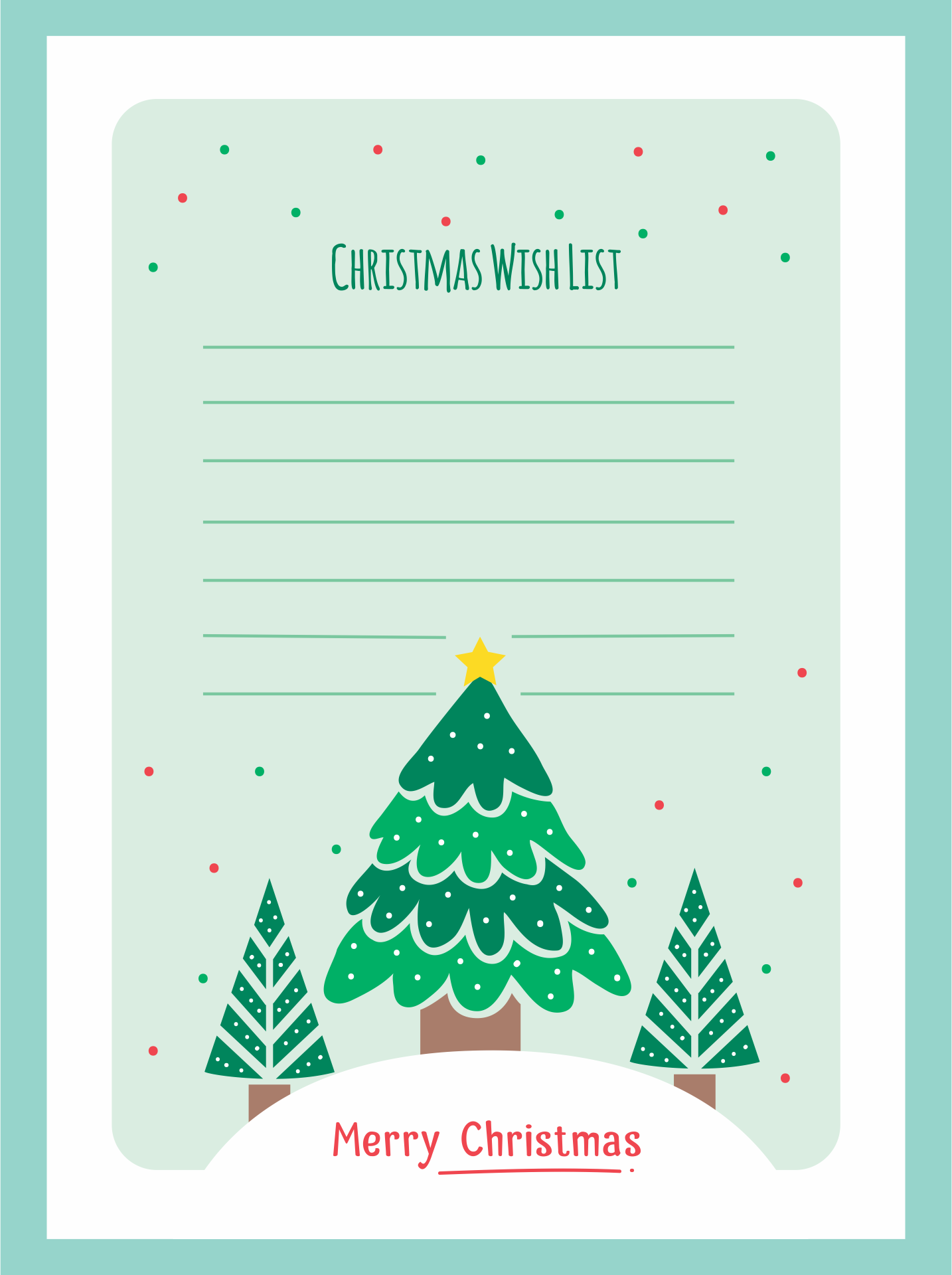 Printable Holiday Wish List