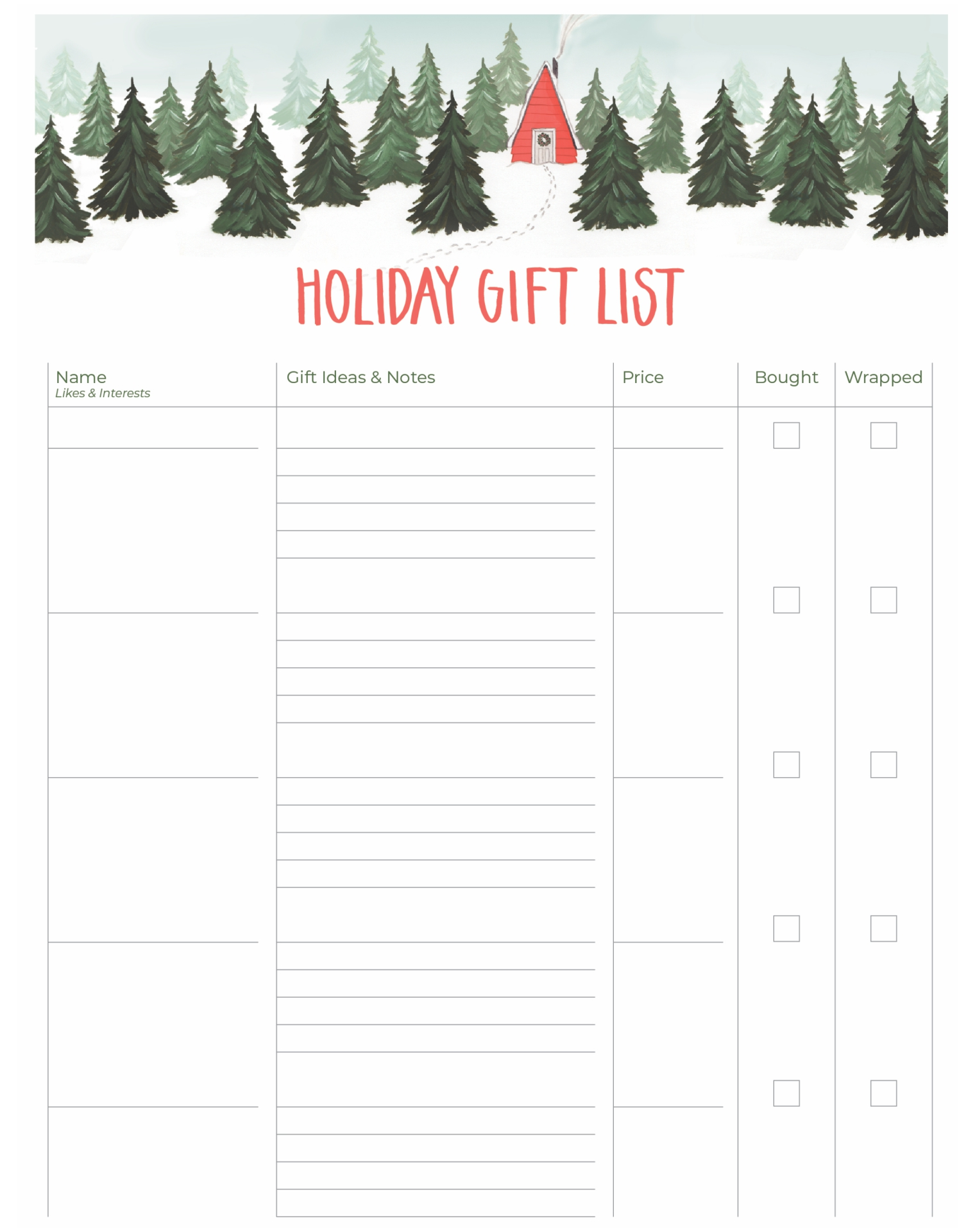 Doc8591100 Free Printable Christmas Wish List Template Free – Printable Christmas List Template