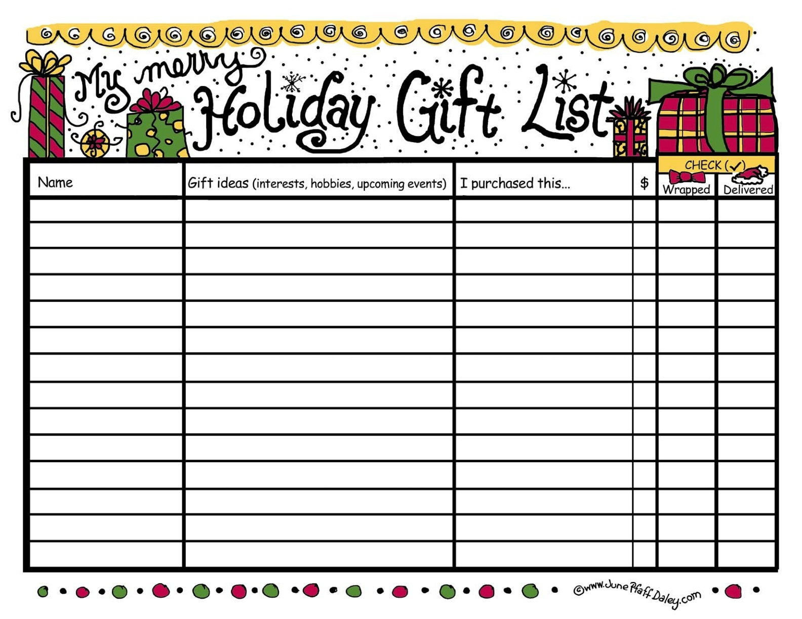 4 Images of Xmas Gift List Printables