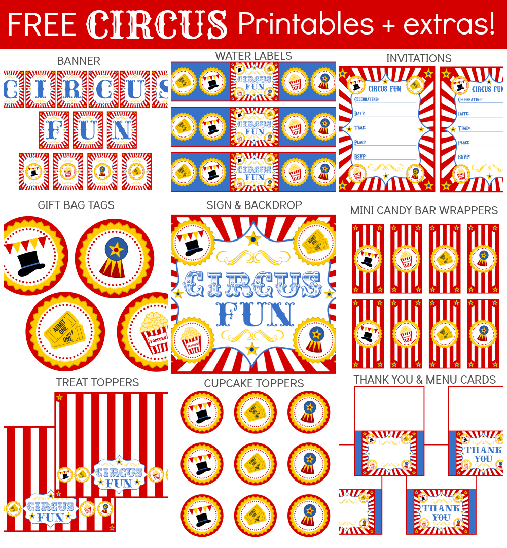 6 Images of Circus Carnival Printables