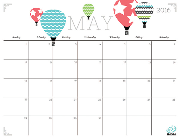 5 Images of Cute Printable Calendar May 2016