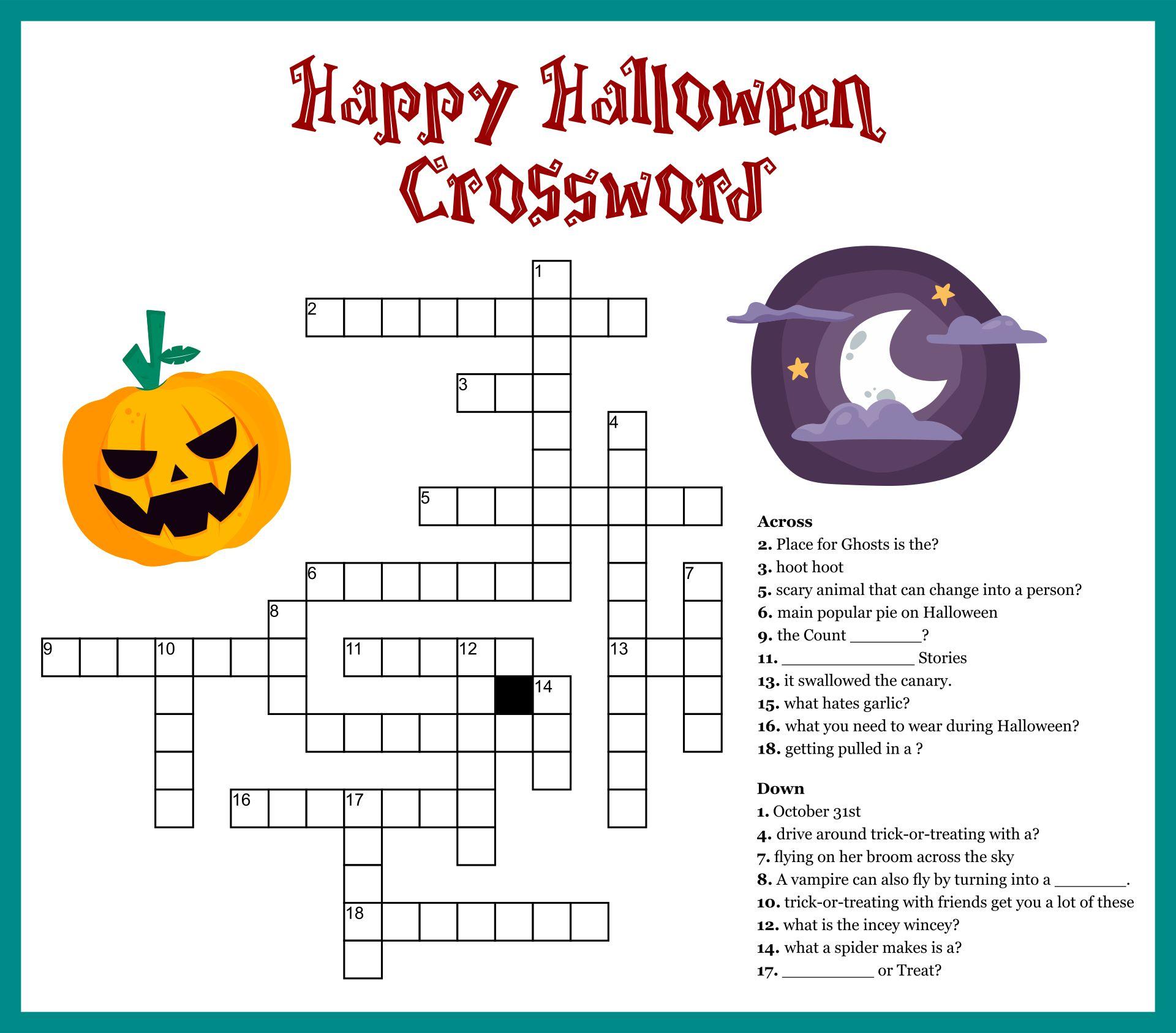 Easy Halloween Crossword Puzzles Printable