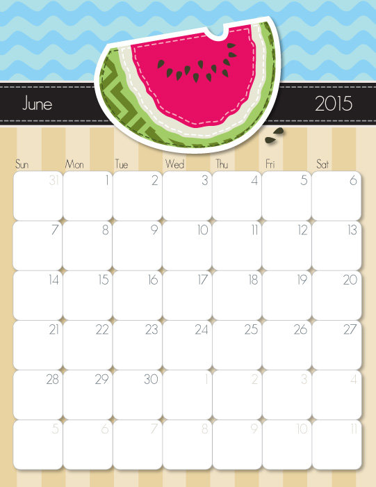 Free Cute Printable June 2015 Calendar