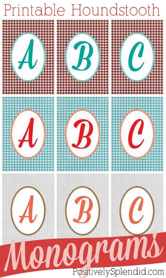 Free Houndstooth Printable Monograms