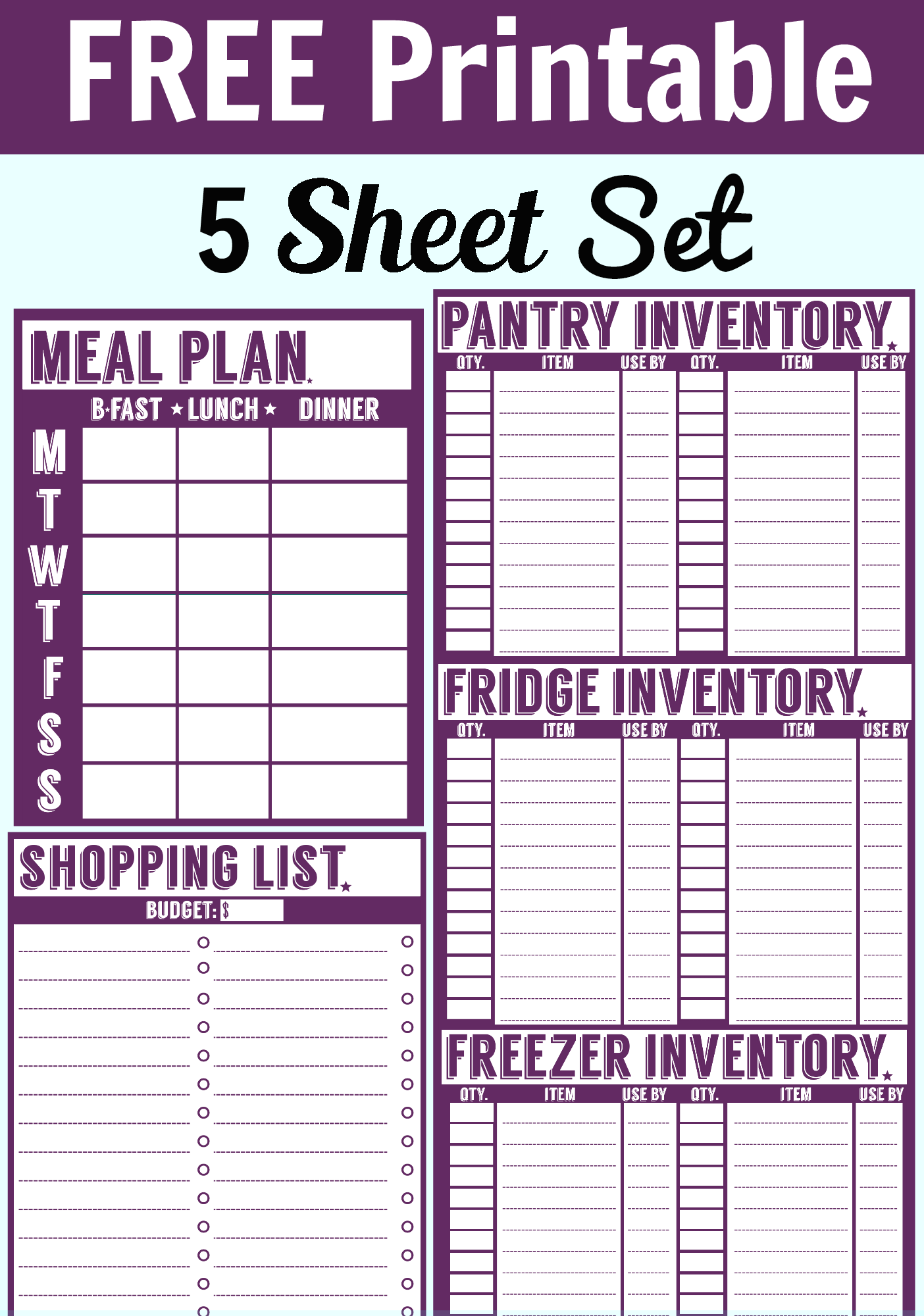 6 Images of Free Printable Menu Sheets