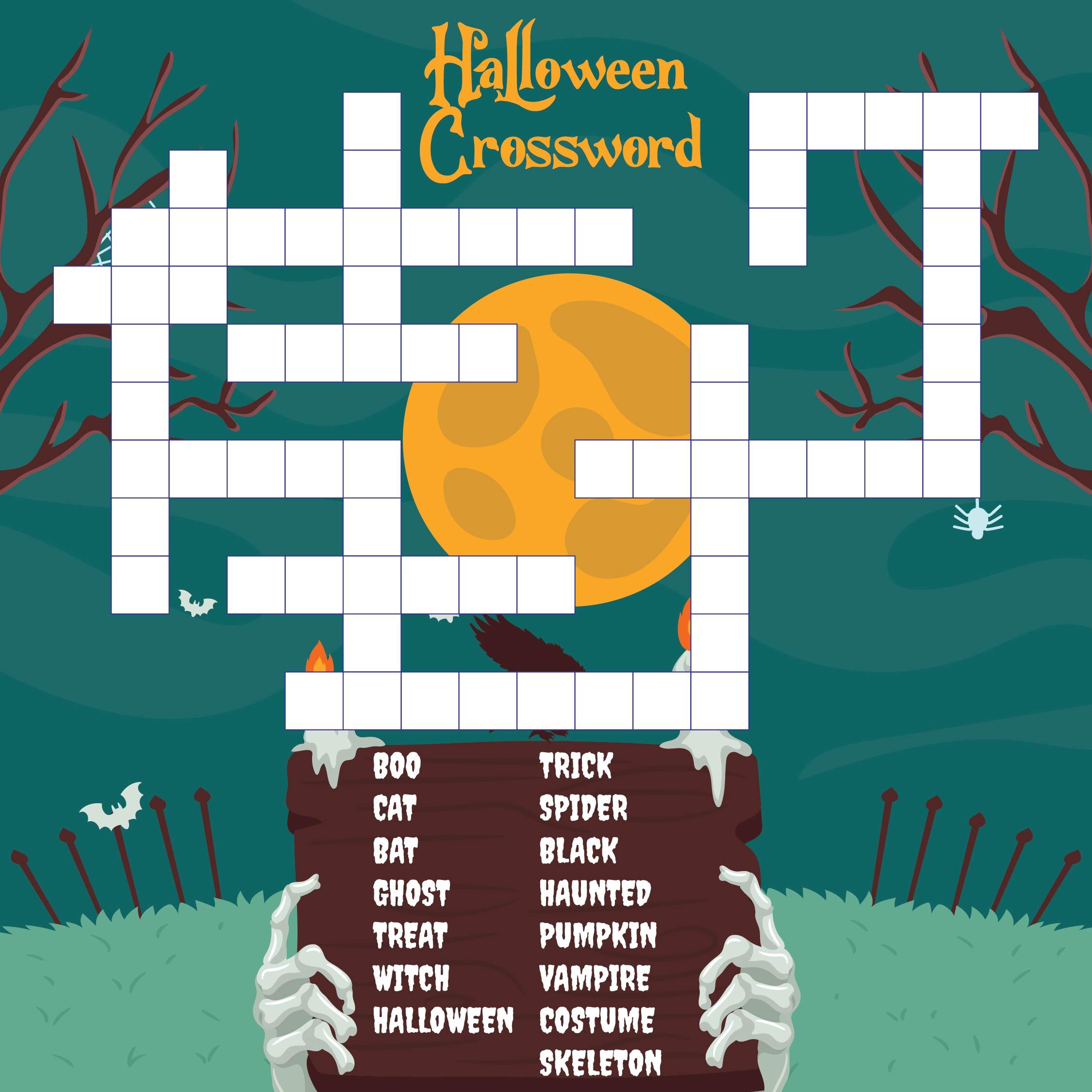 Printable Halloween Crosswords for Kids