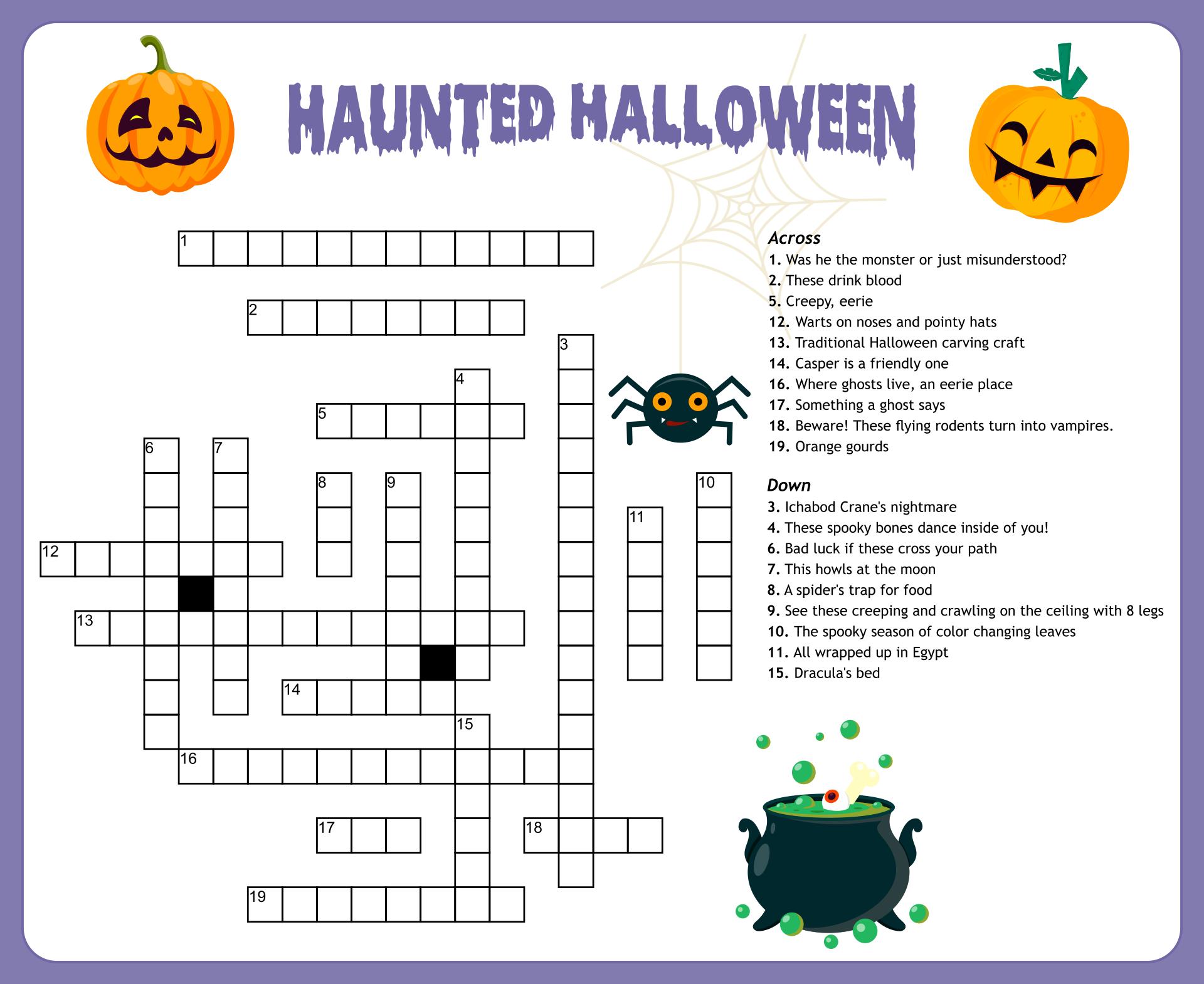 Printable Halloween Crosswords