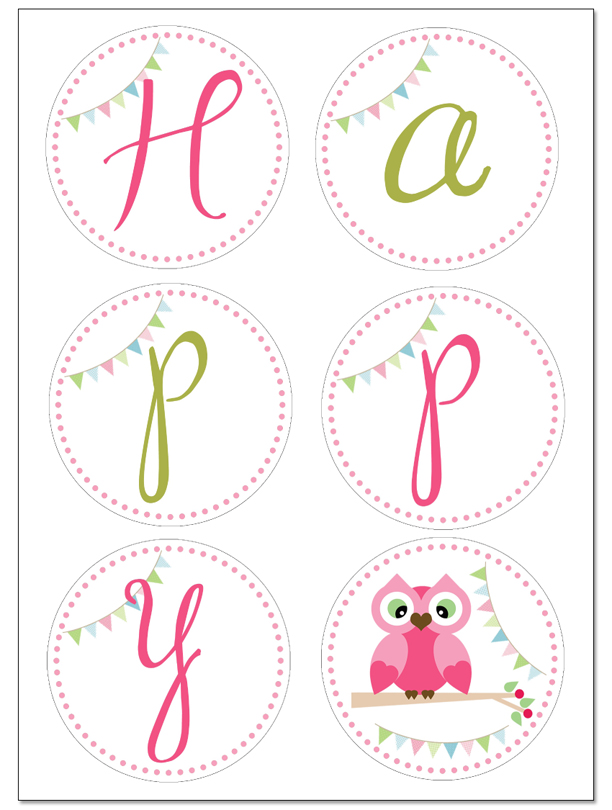 Free Printable Happy Birthday Owl Banner