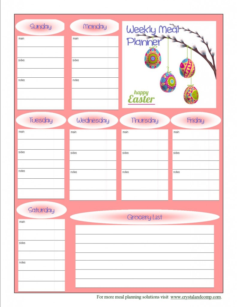 7 Images of Cute Free Printable Meal Planner