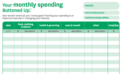 Free Printable Monthly Spending Chart