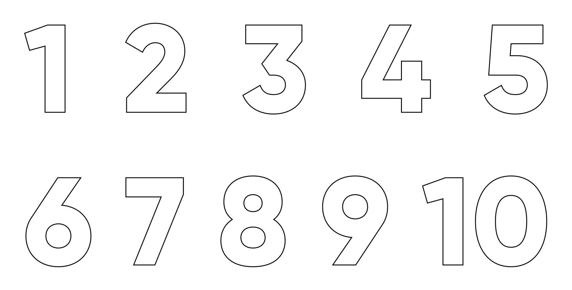 Printable Block Numbers 1 10