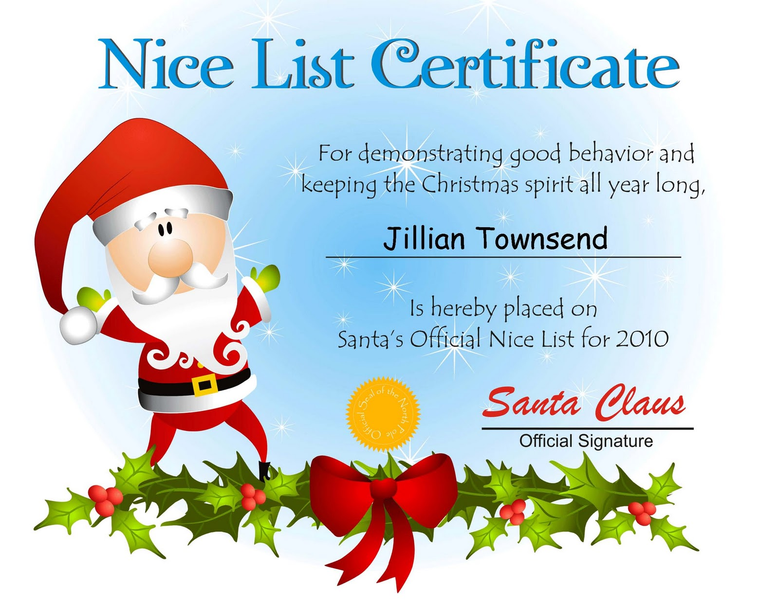 Free Santa Nice List Certificate Template 8 best images of \x3cb ...