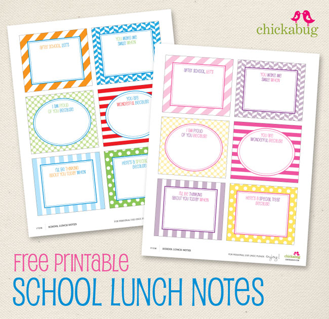 4 Images of School Lunch Notes Printable