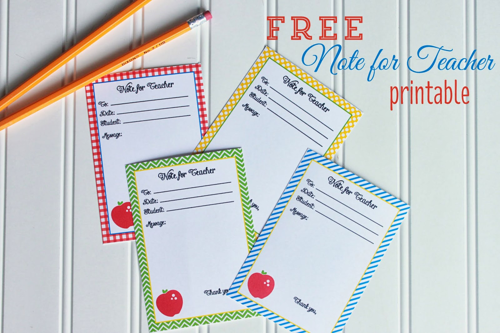4 Images of Printable Teacher Note Cards