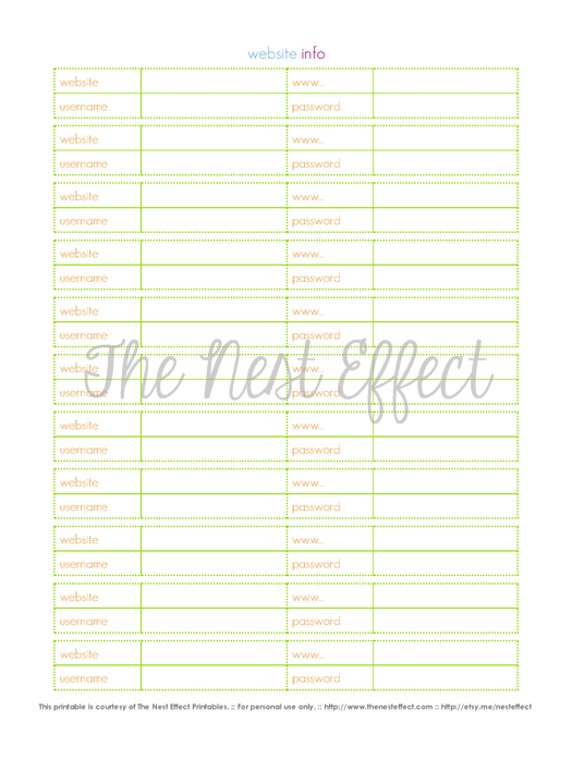 Free Printable Website Password Sheet