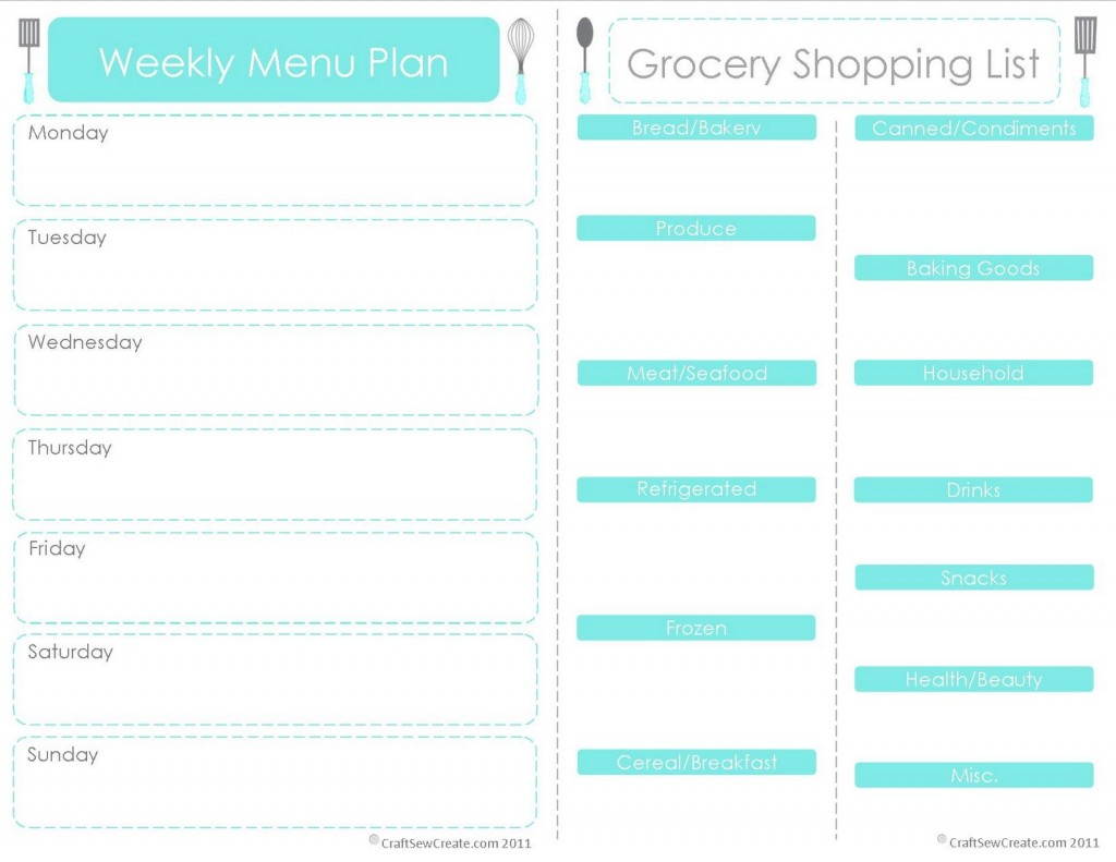 7 Images of Free Printable Weekly Menu Planner With Grocery List