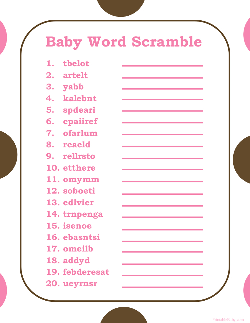 See Baby Shower Word Scramble Answers, Girl Baby Shower Word Scramble ...