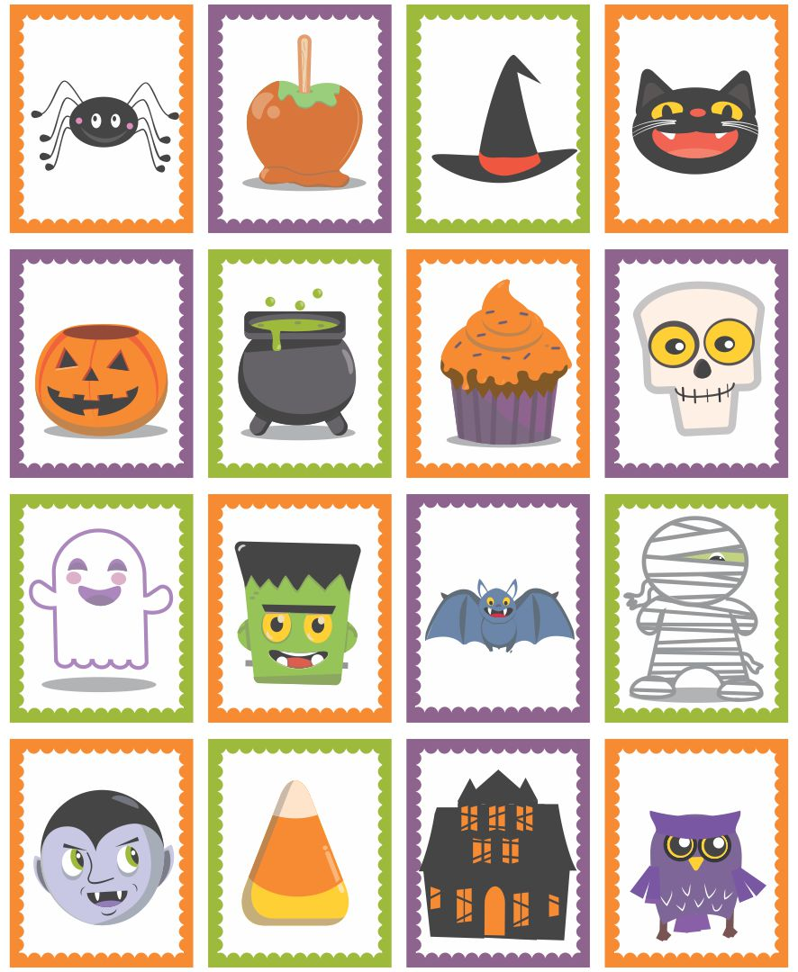 5 Images of Black And White Halloween Memory Game Printable