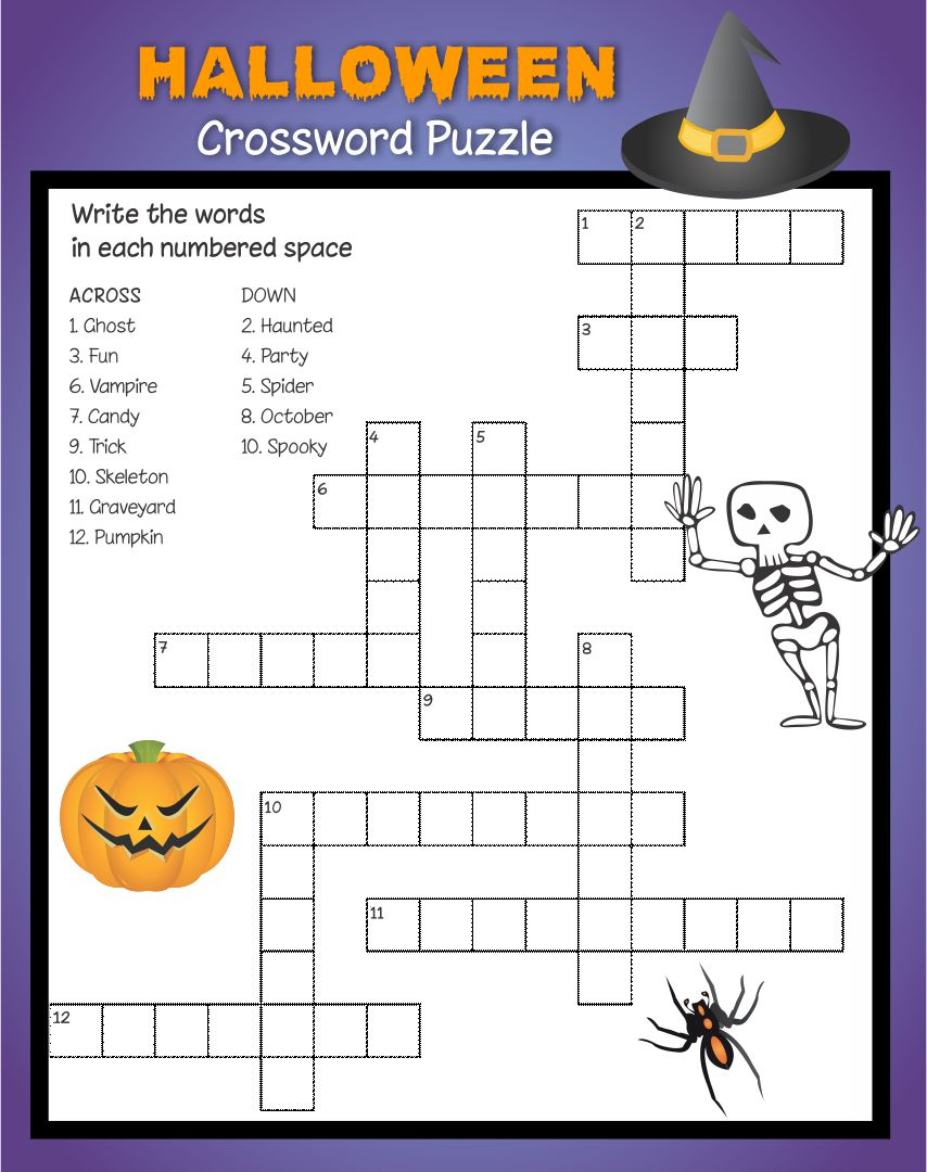 Kids Halloween Crossword Puzzles Printable