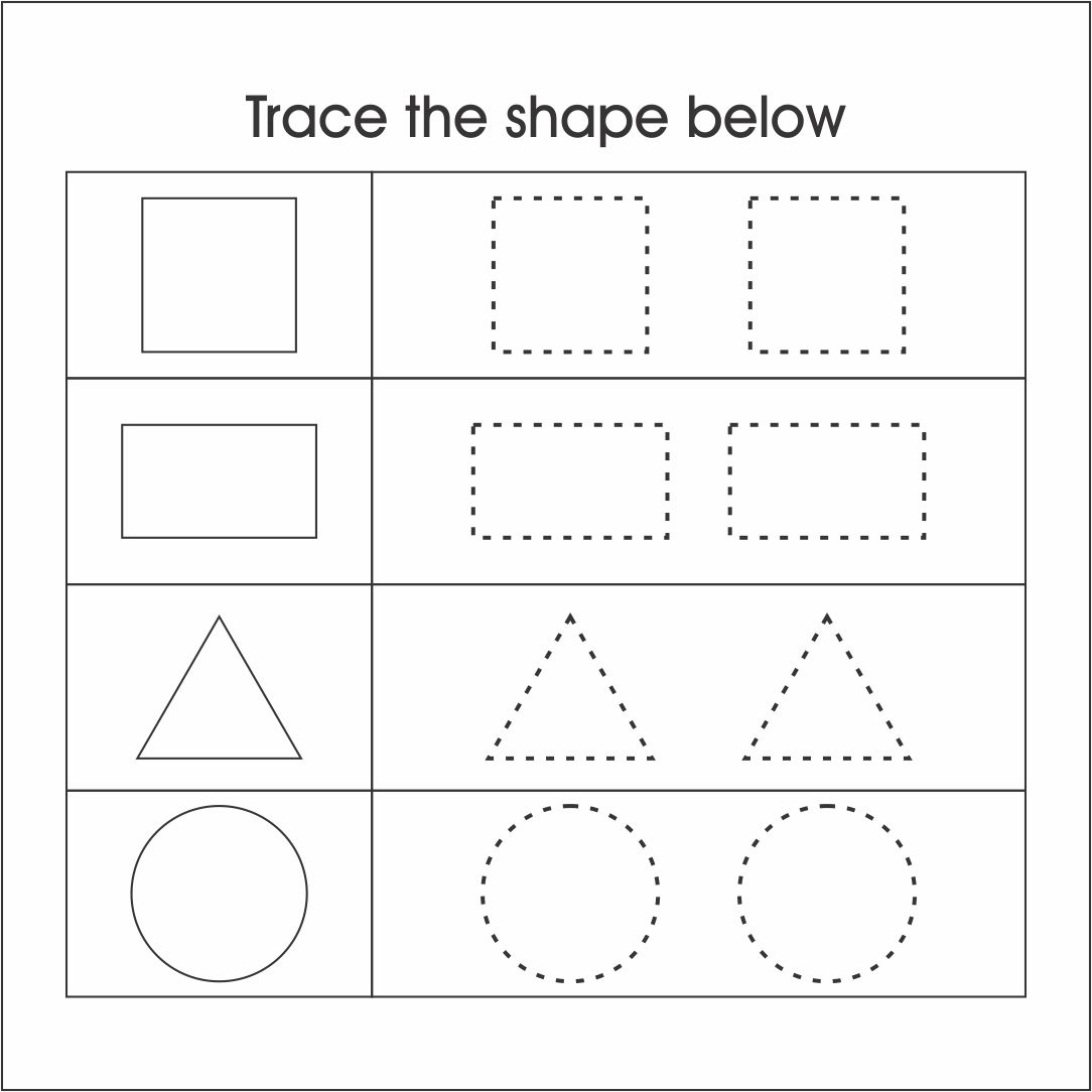 Kindergarten Shape Tracing Worksheets