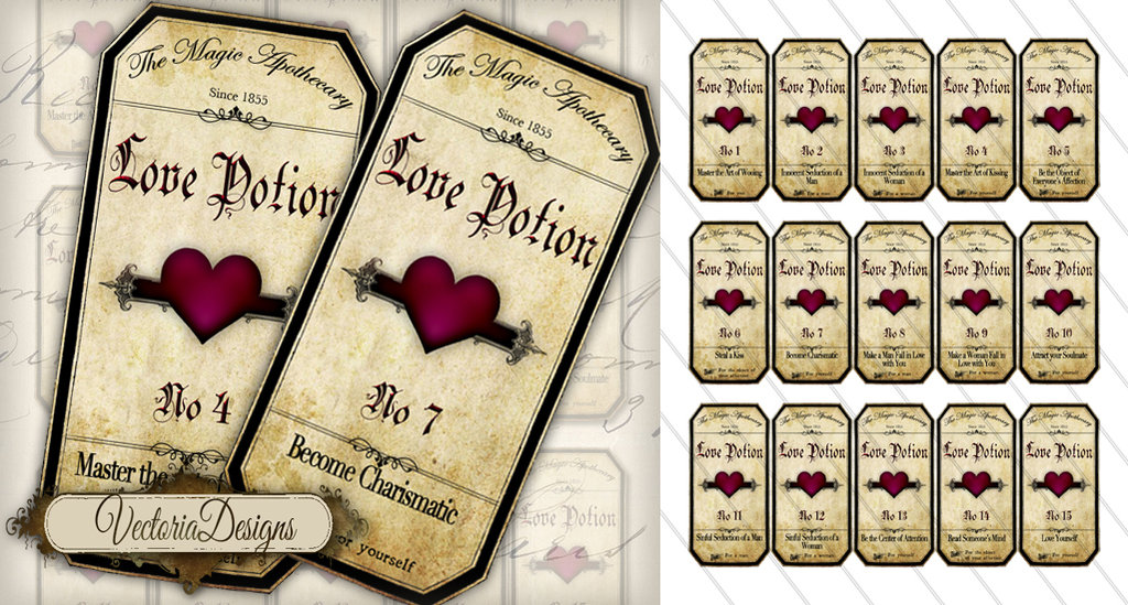 6 Images of Love Potion Label Printable