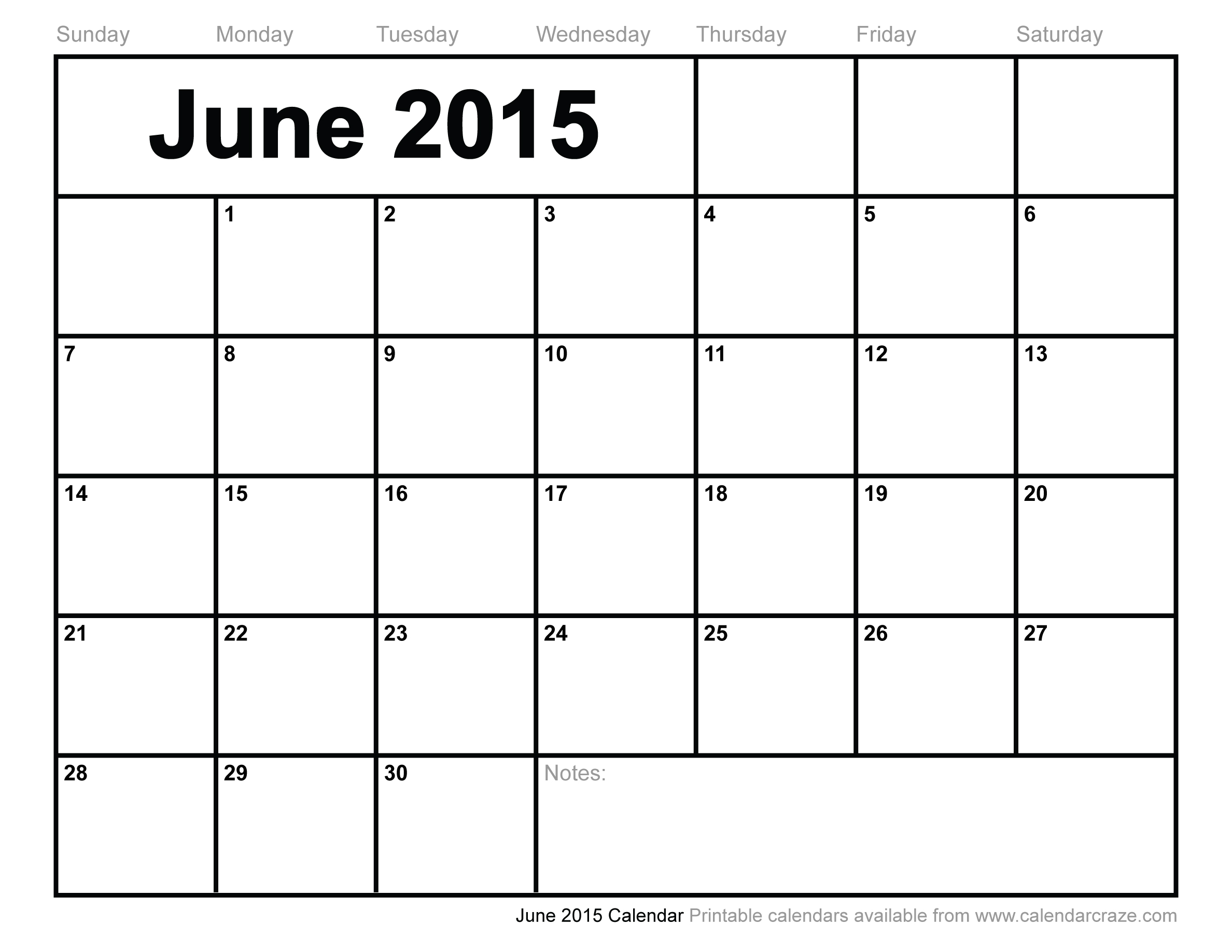 March 2015 Calendar Printable June