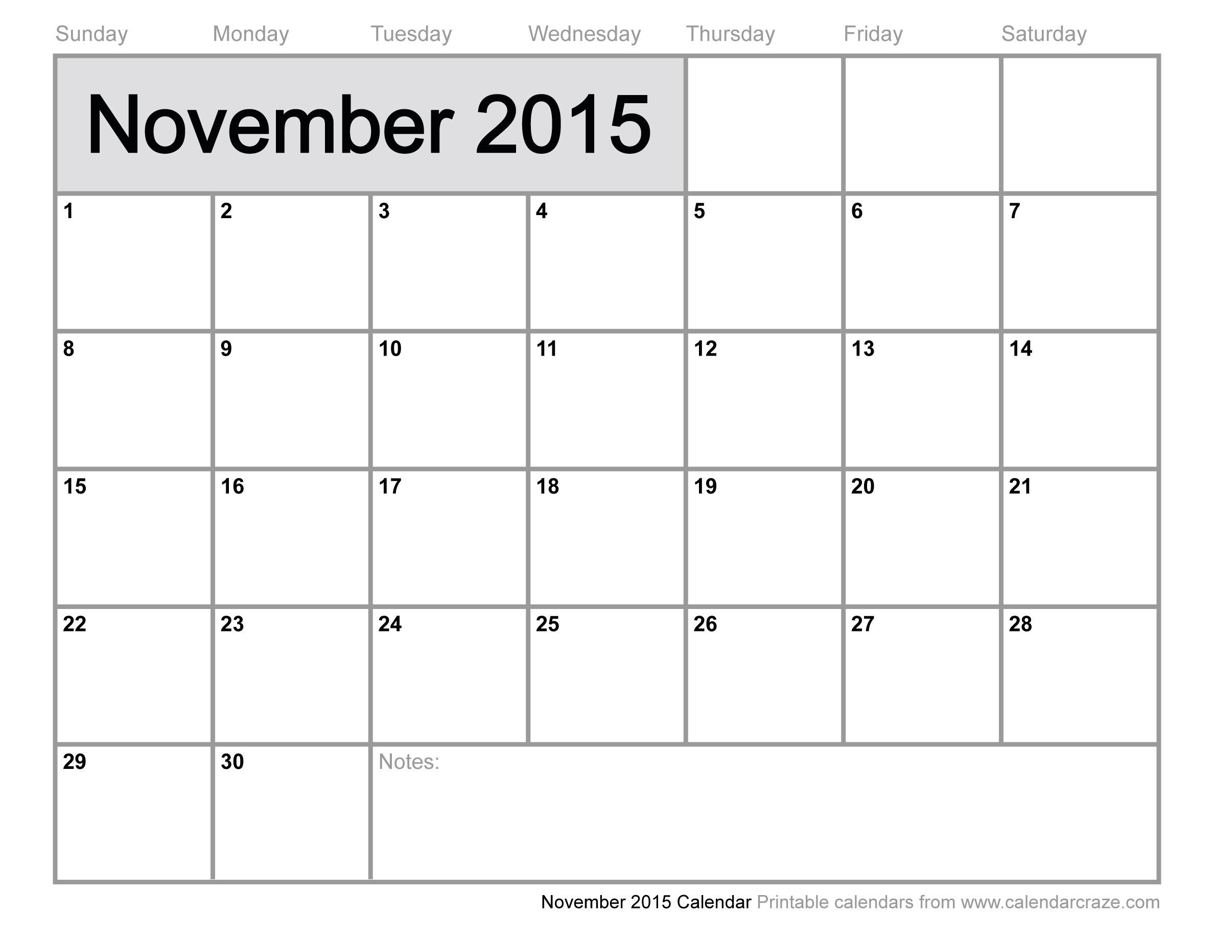 7 Images of November 2015 Calendar Printable