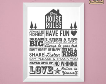 9 Images of House Rules Printable Poster