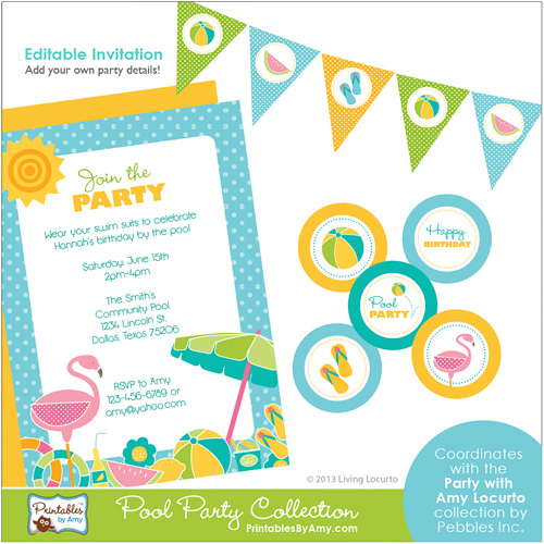 6 Images of Free Printable Summer Pool Party