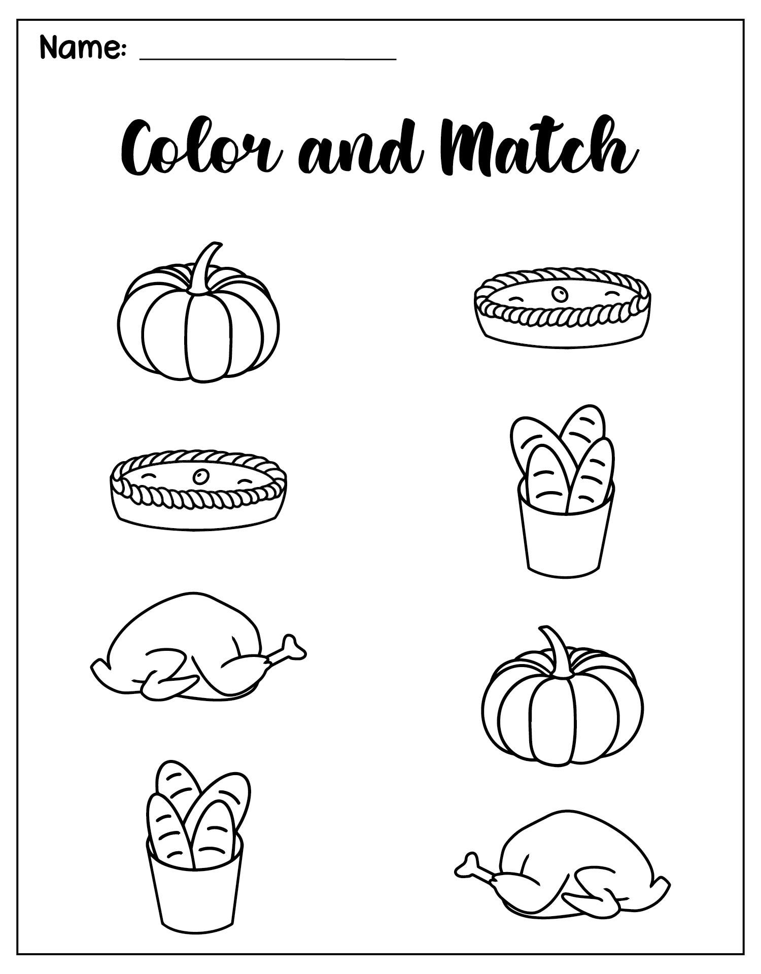 4 Images of Preschool Printables Thanksgiving Food Activities