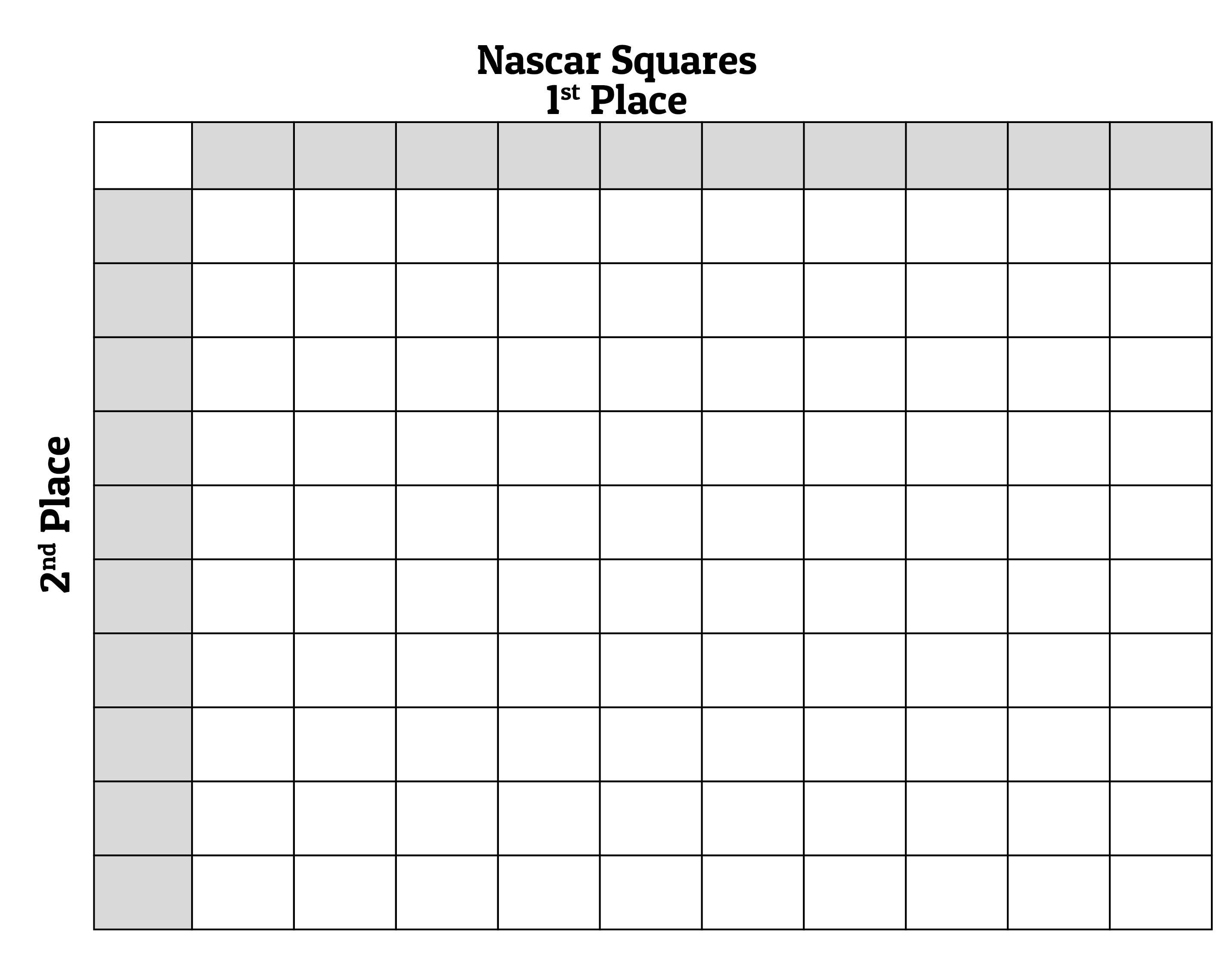 Printable 100 Square Football Pool Grid