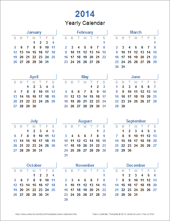 4 Images of Free Printable 12 Month Calendar 2014