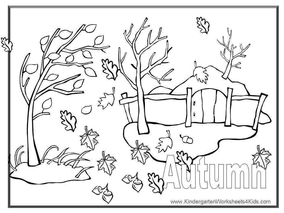 4 Images of Autumn Fall Printable Coloring Pages