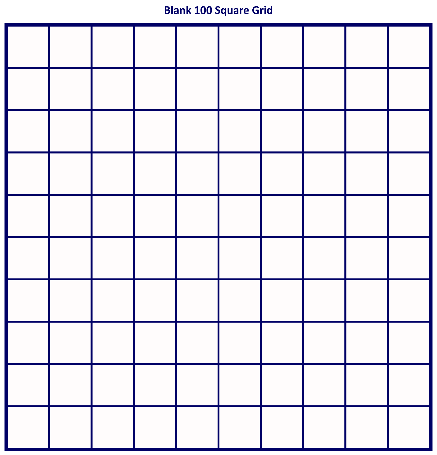 ... Printable Blank 100 Square Grid and Printable 100 Square Chart