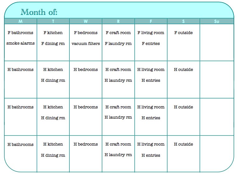 Monthly Chore Calendar : Best images of printable monthly chore calendar