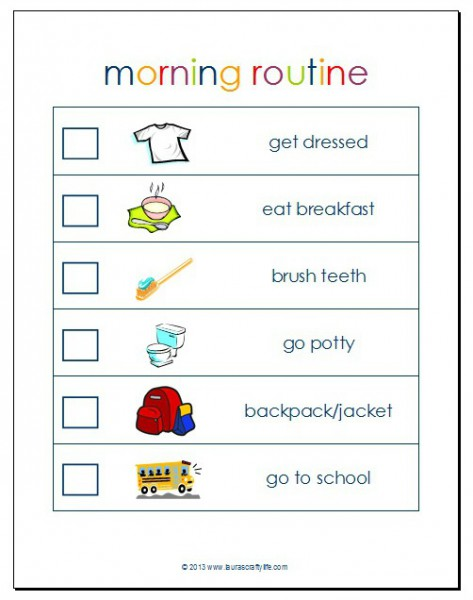 6 Images of School Morning Routine Printable