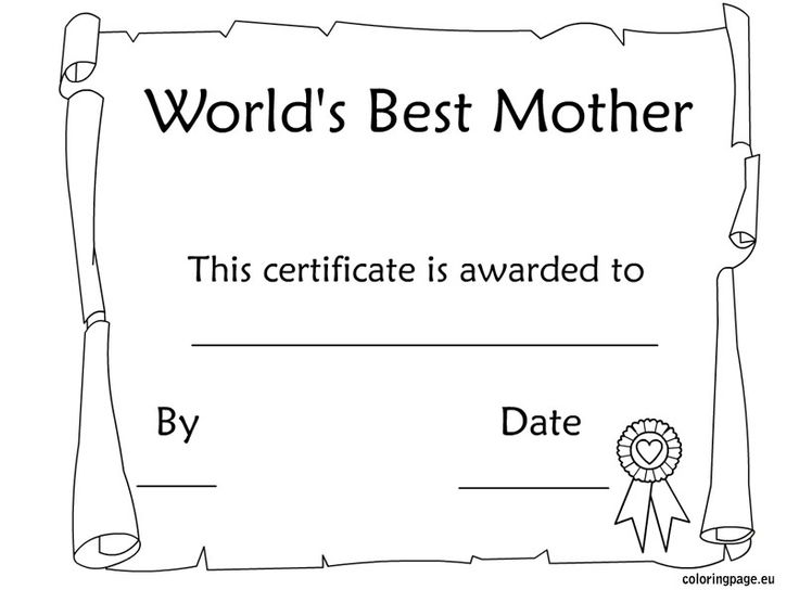 4 Images of Free Printable Mother's Day Awards