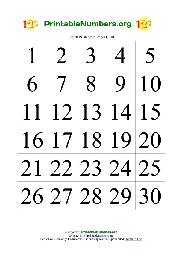 8 Images of Free Printable Number Charts 1-20
