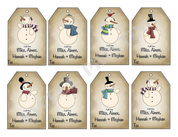 8 Images of Printable Snowman Tags