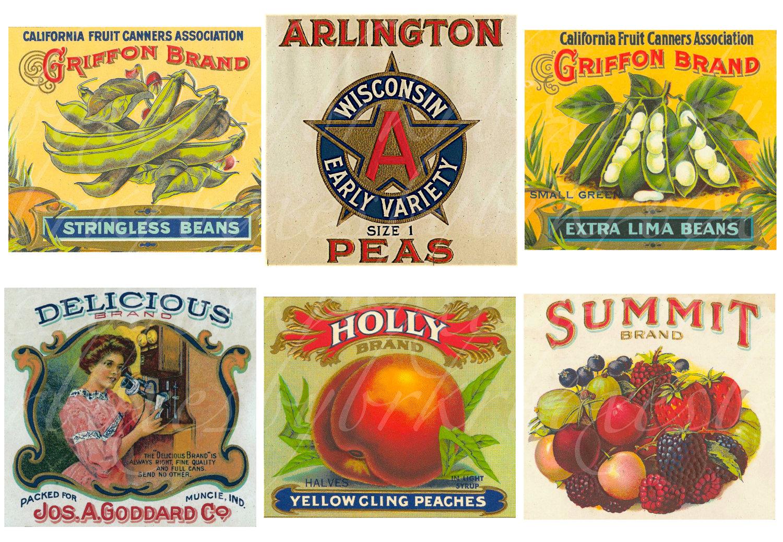 9 Images of Vintage Food Labels Printable