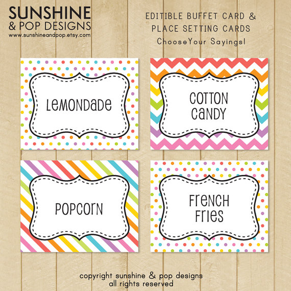 4 Images of Free Printable Buffet Food Labels