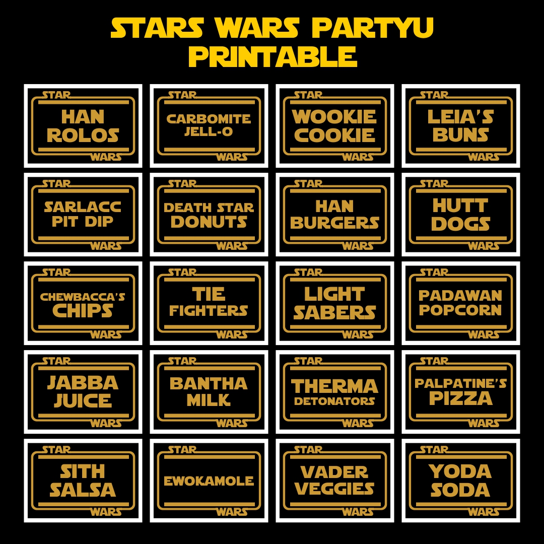 Star Wars Food Label Printables