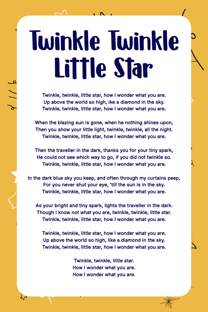 Twinkle Twinkle Little Star Poem
