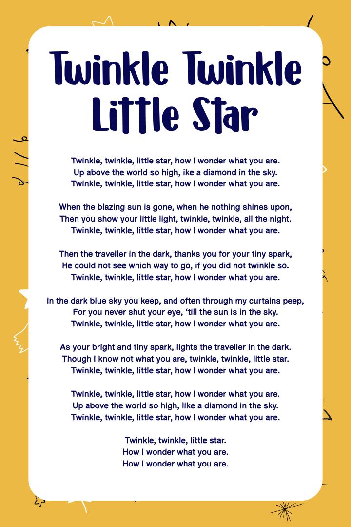 9 Images of Twinkle Twinkle Little Star Printable Poem