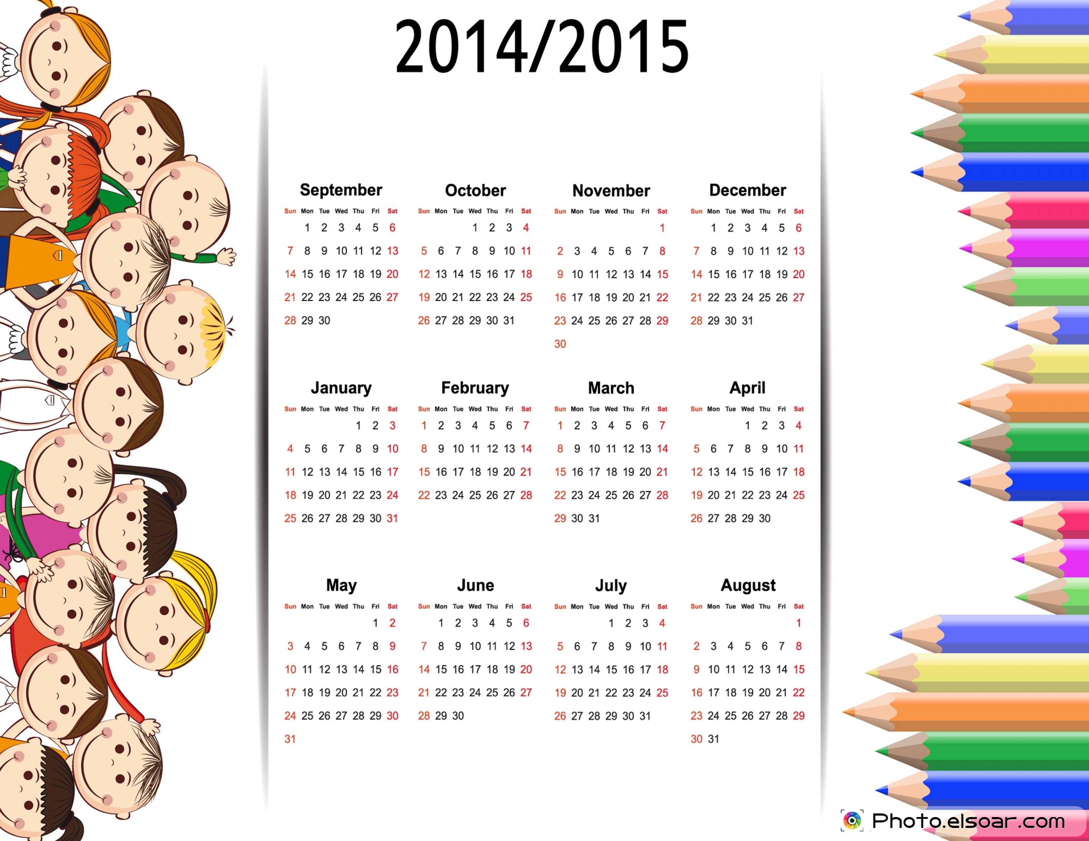 school calendar printables