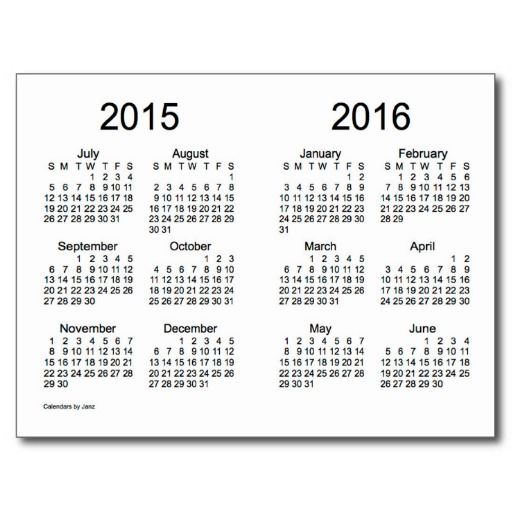9 Images of Only Printable Yearly Calendar 2015-2016