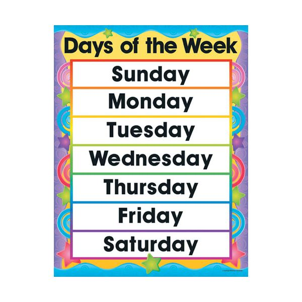 6 Images of Large Day Of The Week Printables
