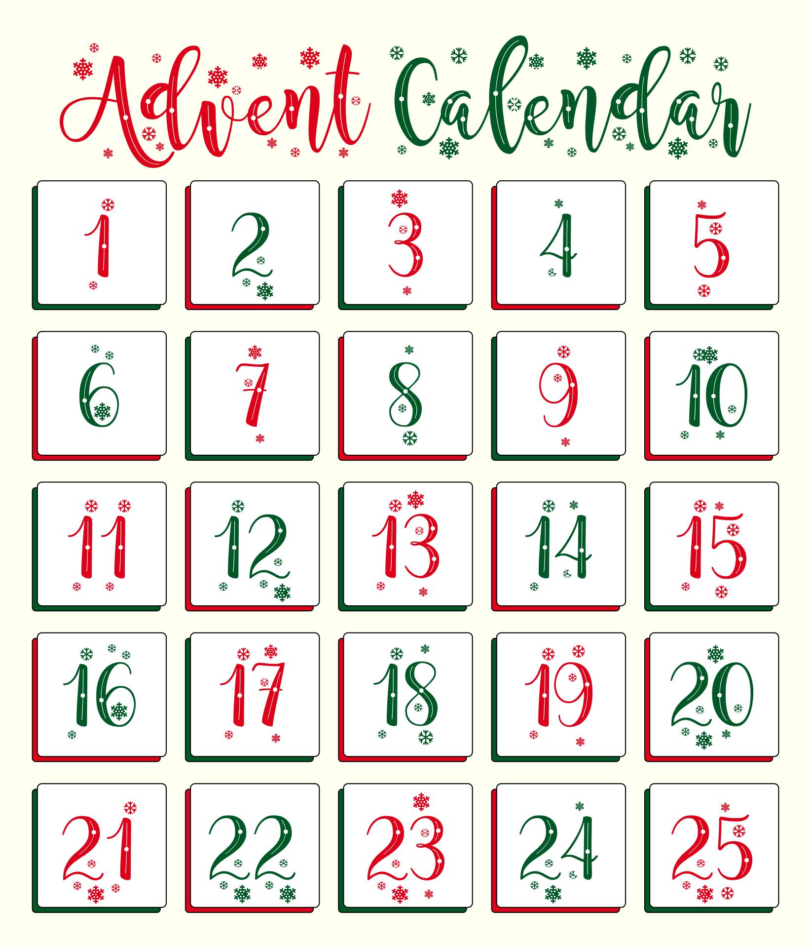 Advent Printable Calendar Templates