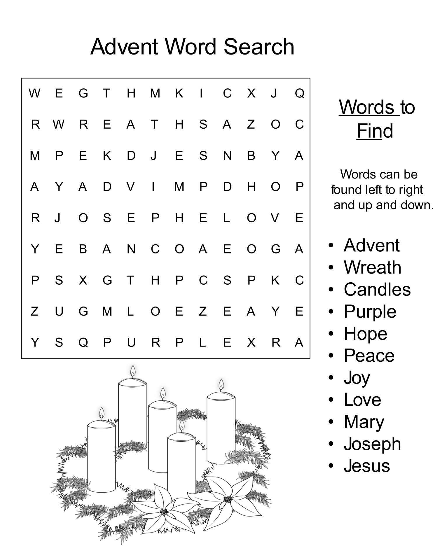 Advent Word Search Puzzle