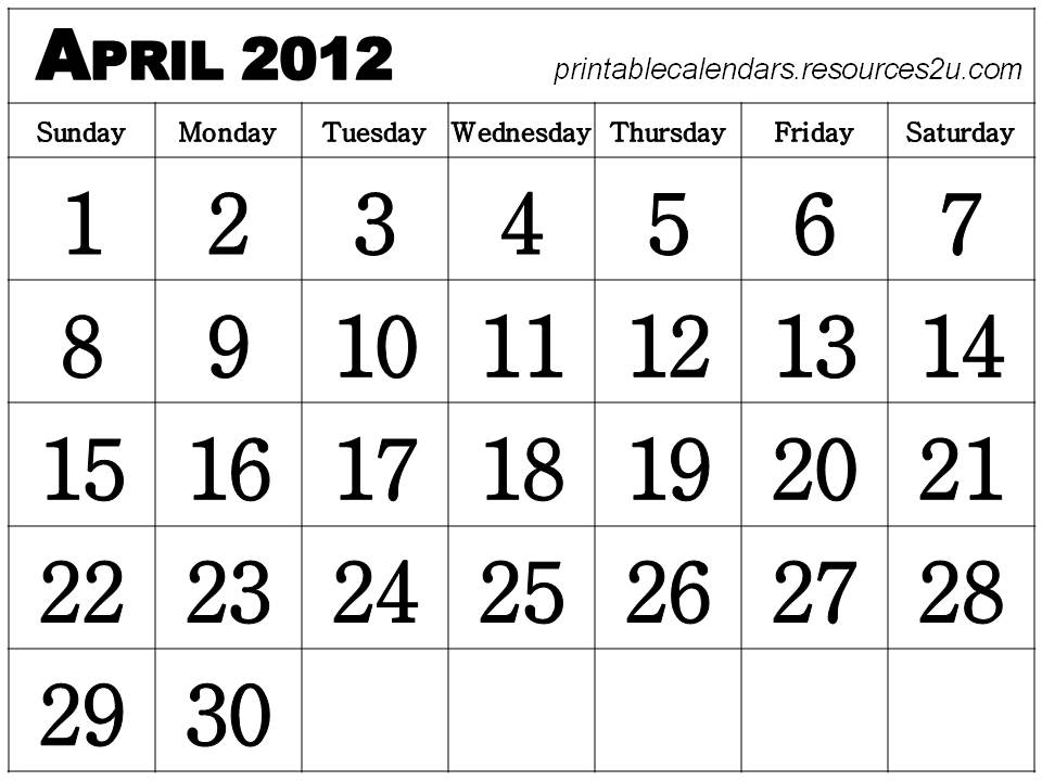 6 Images of Free Printable Calendar April 2012